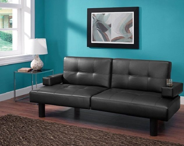Futon Sofa Sleeper Convertible Bed Couch Chaise Black Faux
