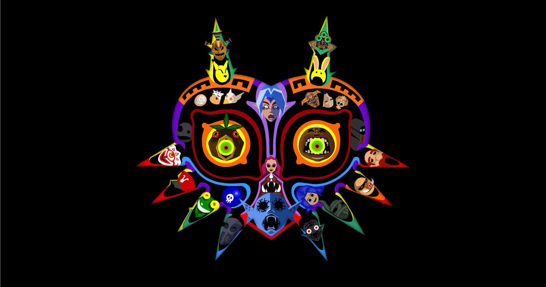 Majoras Mask Wallpaper Featuring All The Masks