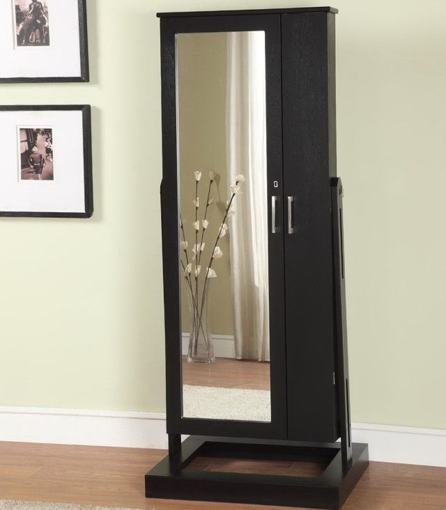 Simple Dressing Room with Full Length Mirror Jewelry Cabinet