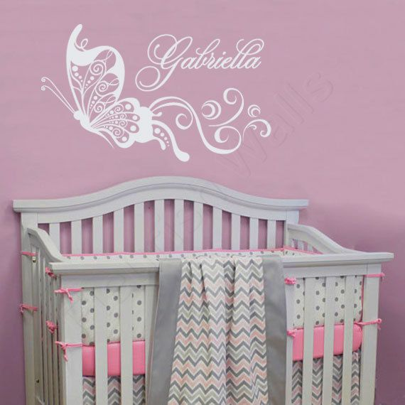 Erfly Wall Decal Nursery Name Baby Decor S Bedroom Art Gn072 By
