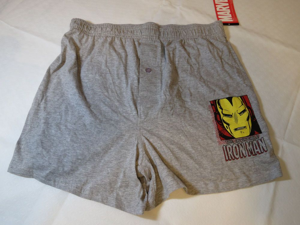 Marvel The Invincible Iron Man Boxer Shorts underwear grey Boy's Youth L NWT #Marvel #Boxers