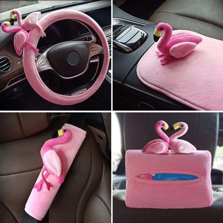 Pink Flamingo Theme Car Accessories Pink Flamingo Theme  Car Accessories  \tDecorative Car Accessories  \tPlush material  \tBuy individually or set \u00a0 \u00a0 *Note: We provide free worldwide shipping on all orders. Please allow 1 - 3 business days for processing and 12 - 20 days for delivery. #decorationequipment