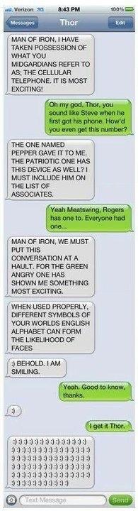 Thor texts Iron Man