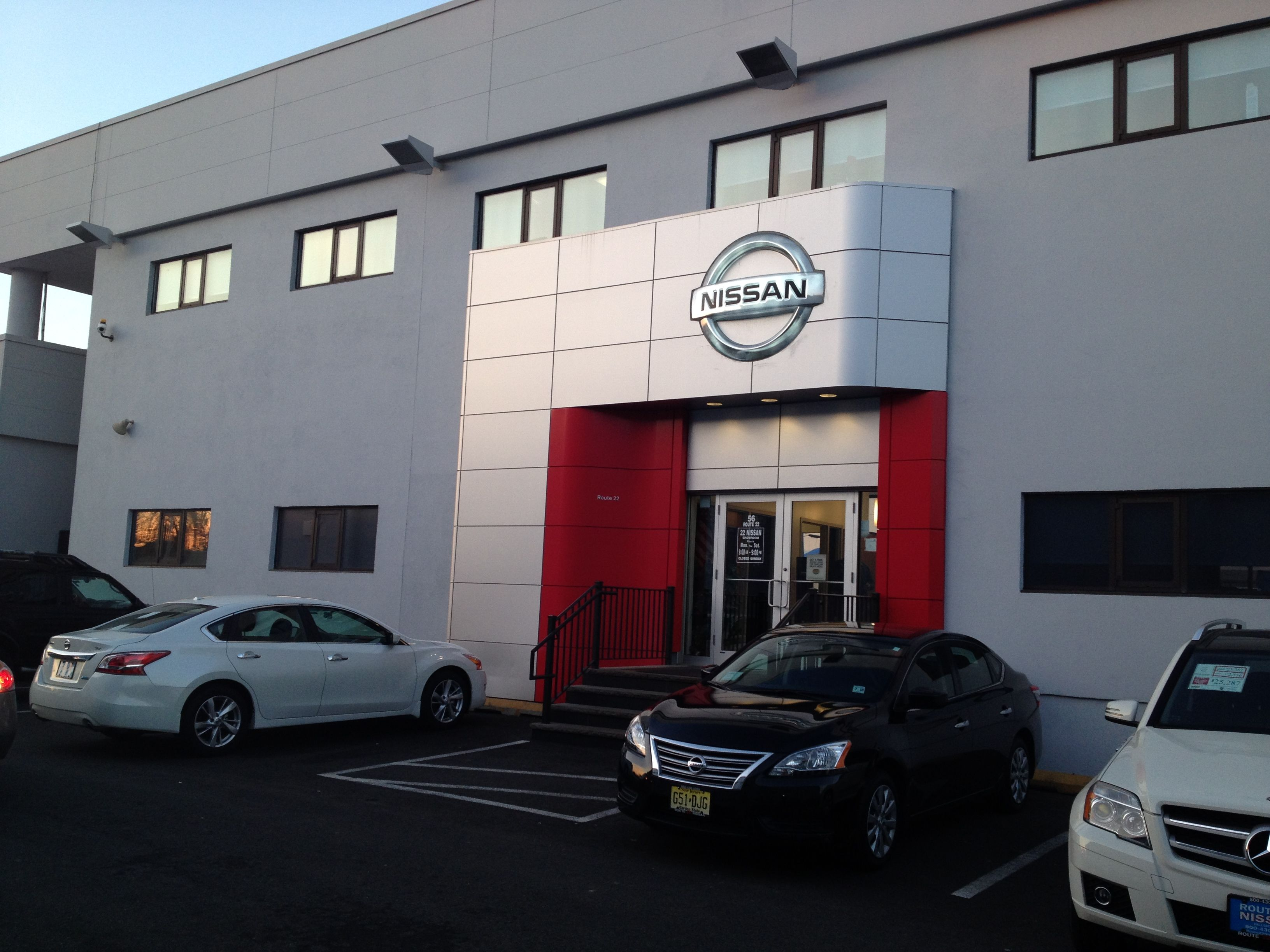 The entrance to Route 22 Nissan showroom e to our massive
