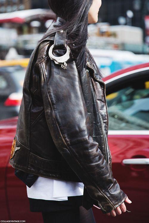 shoulder details, biker jacket