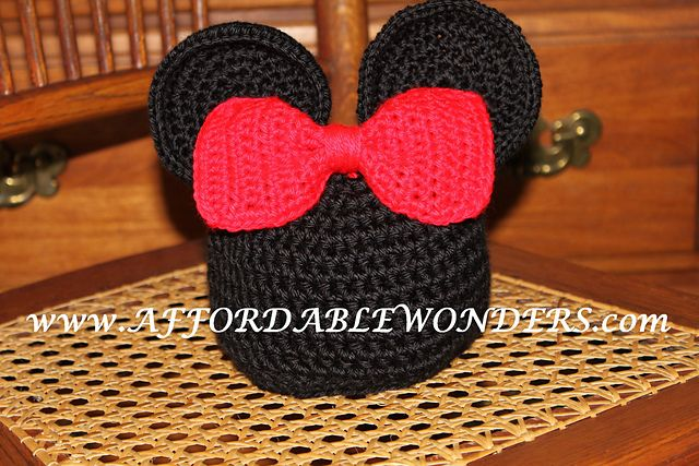 Mickey & Minnie Mouse inspired Hat pattern by Cristina Barnes ...