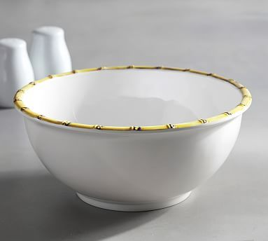 Bamboo Melamine Serve Bowl Outdoor Dinnerware Bowl Pottery Barn