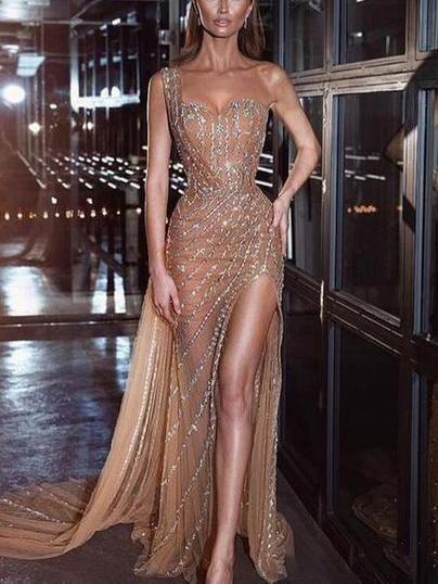 One-shoulder side split party evening dress