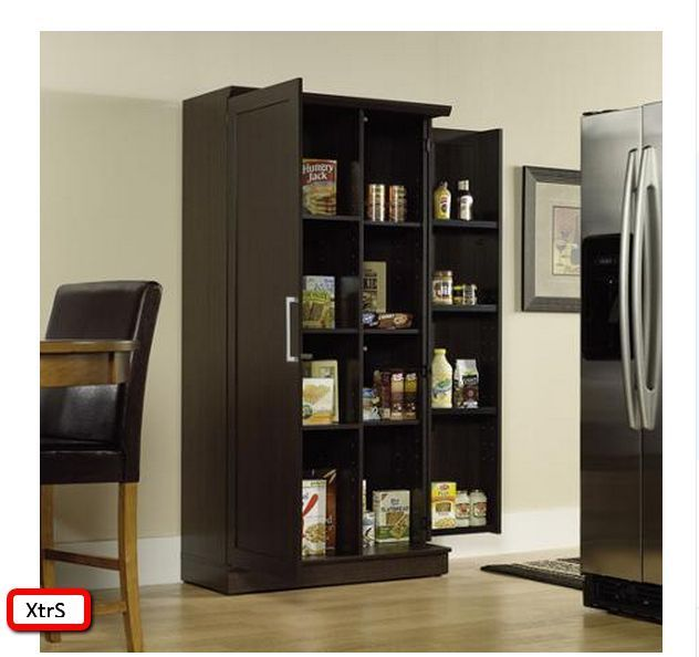 Kitchen Pantry Cabinet Tall Wood Storage Shelf Organizer Racks Cupboard 2 Doors Large Storage Cabinets Pantry Storage Cabinet Wood Storage Shelves