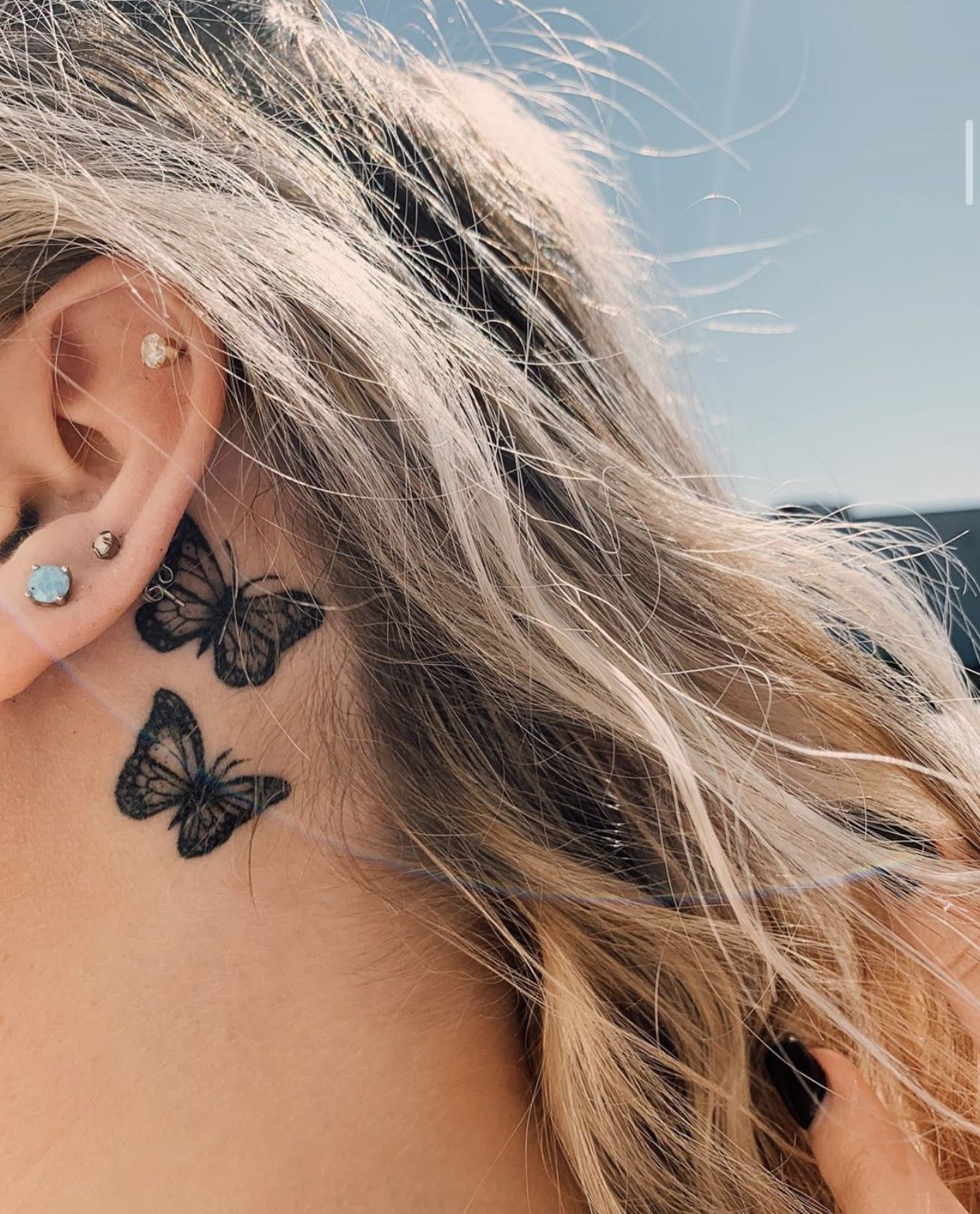 butterfly tattoo (With images) Behind ear tattoos