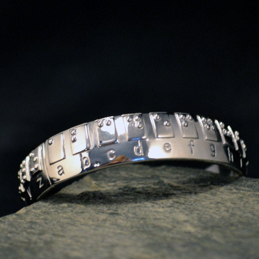 Braille Alphabet Bangle TWO sizes Bracelet Jewelry by KFEHRdesigns