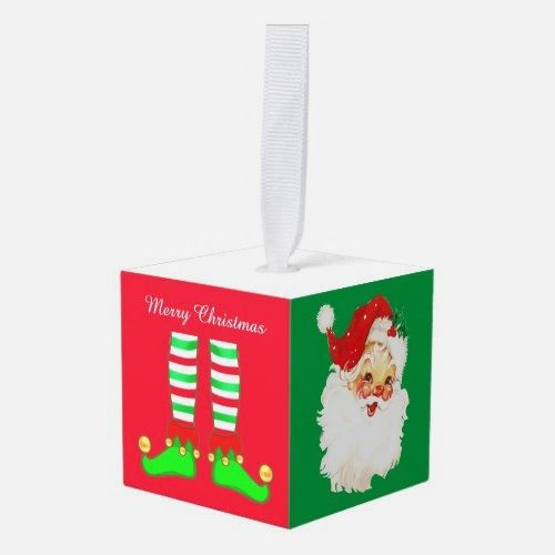 Santa Claus, Christmas Tree & Elf Legs Cube Ornament   christmas centrepiece ideas, handlettering christmas, pyrography christmas #christmastime #christmasmarket #christmasmood
