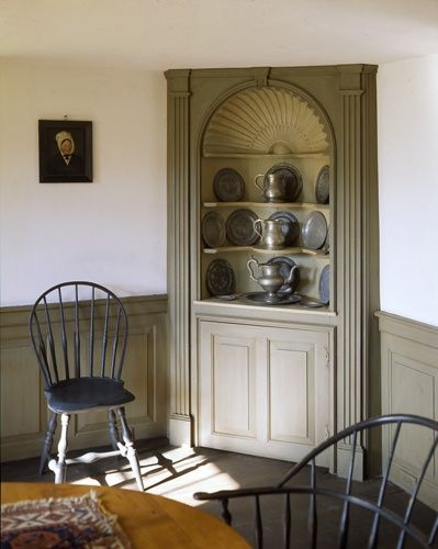 Showcases Raised Panel Walls Barn Wood Floor And A Simple Style For Moulding Trim Like In This Farmhouse Dining Room With Corner Cabinet