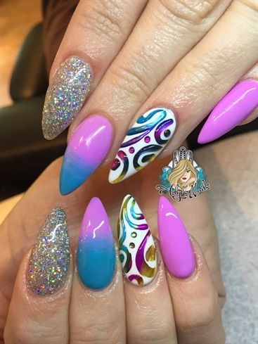 Ombr 3d Mirror Effect By Alysnails From Nail Art Gallery Nail Art