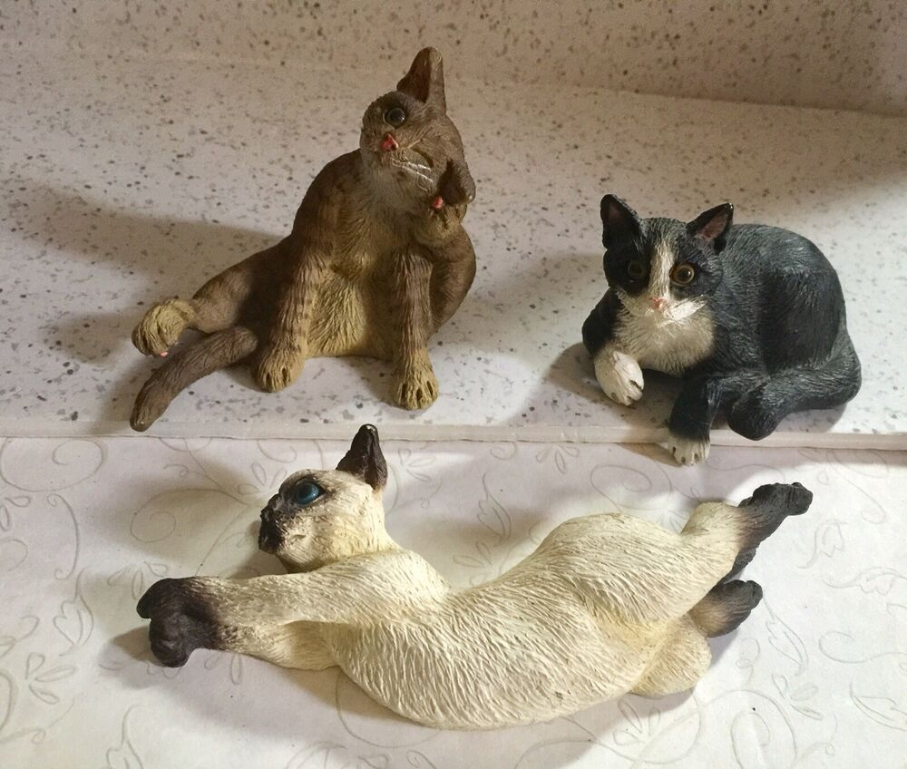 4 Cat Figurines Lot Creations By Carole Resin Kitten Figurines