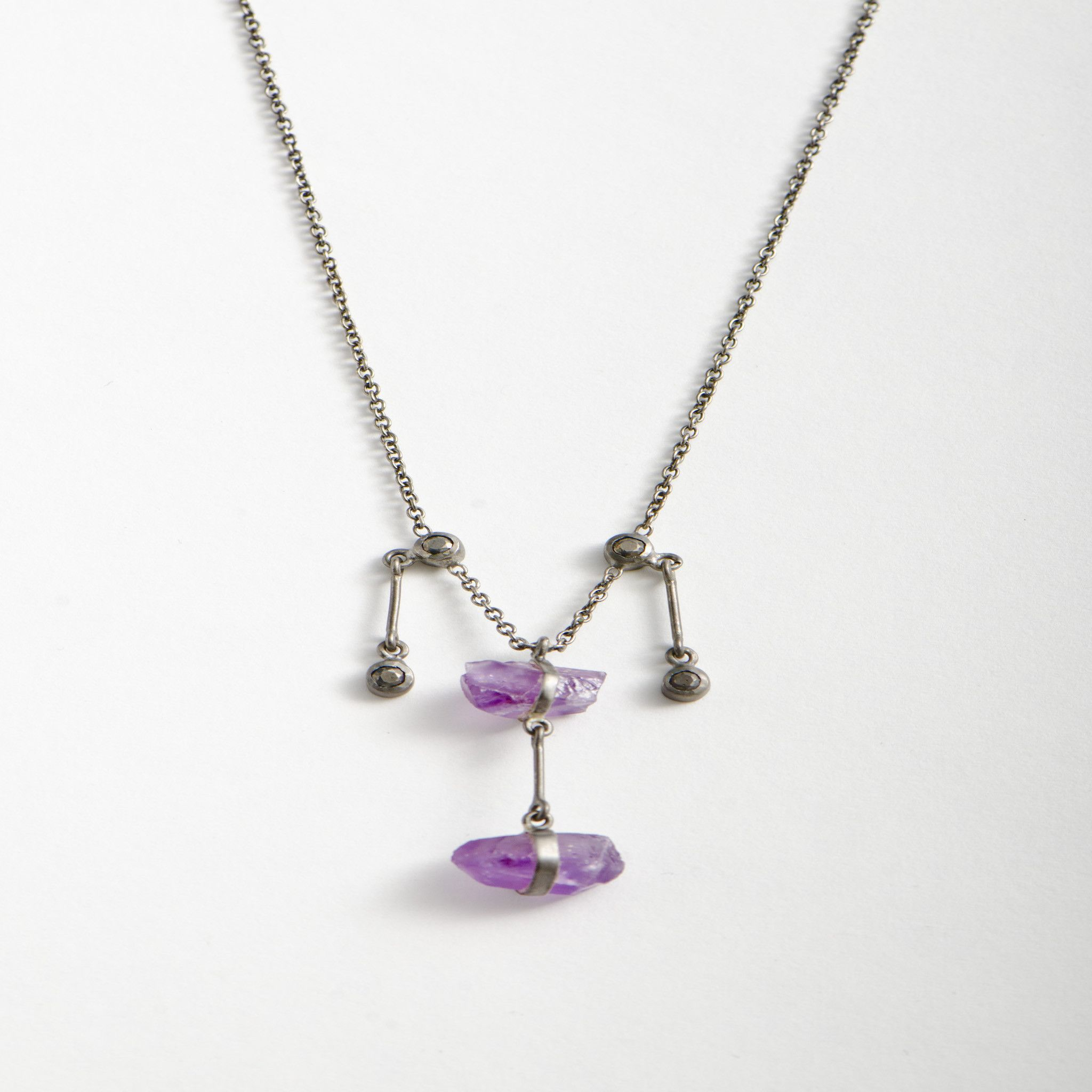 SuperNatural Amethyst & Hematite - Satin Gunmetal Till Necklace