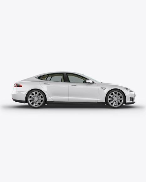 Tesla Model S Mockup - Side View. Ultra HD quality. Includes smart objects and special layers for your design. This mockup is included in the Tesla Model S Mockup 5-in-1 Pack.