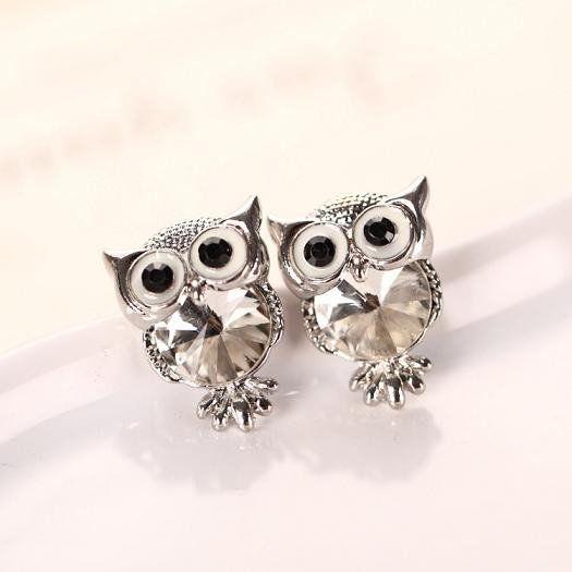 Crystal Owl Stud Earrings (Clear Silver) #Crystal #Earrings #Silver