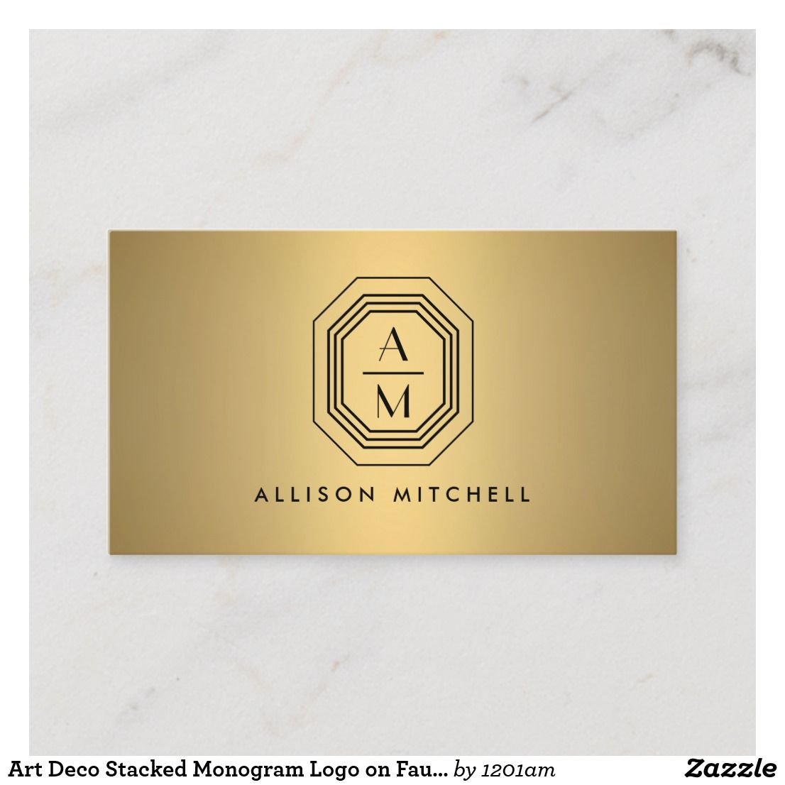 Art Deco Stacked Monogram Logo on Faux Gold Business Card