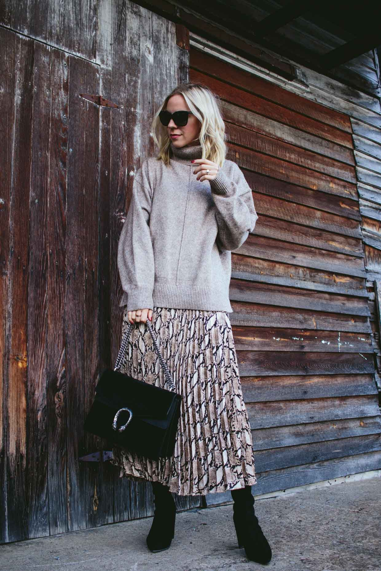 Soft Snakeskin Oversized Sweater With Pleated Midi Skirt Meagan S Moda Pleated Midi Skirt Midi Skirt Style Maxi Dress [ 1860 x 1240 Pixel ]