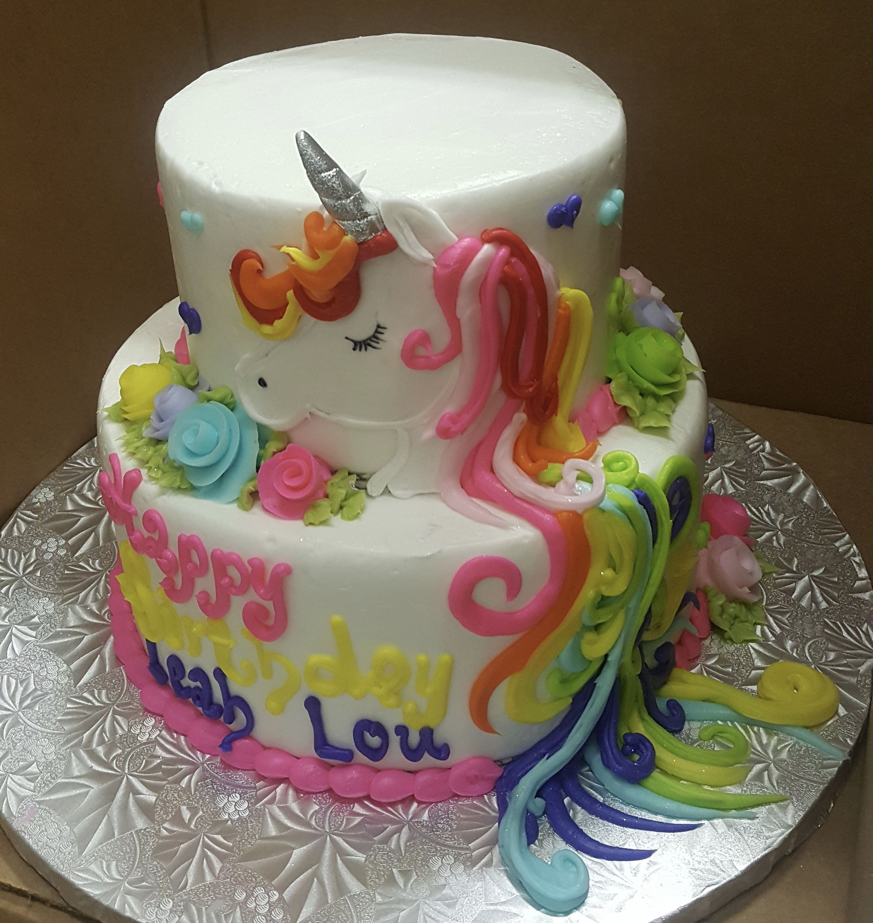 Calumet Bakery Two Tier Unicorn Drawn Cake Calumet Bakery Bakery Cake