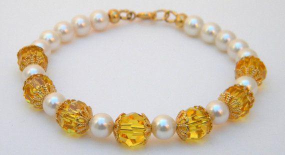 Swarovski Crystals and Pearl bracelet Topaz by FlyBellaDesigns, $20.00