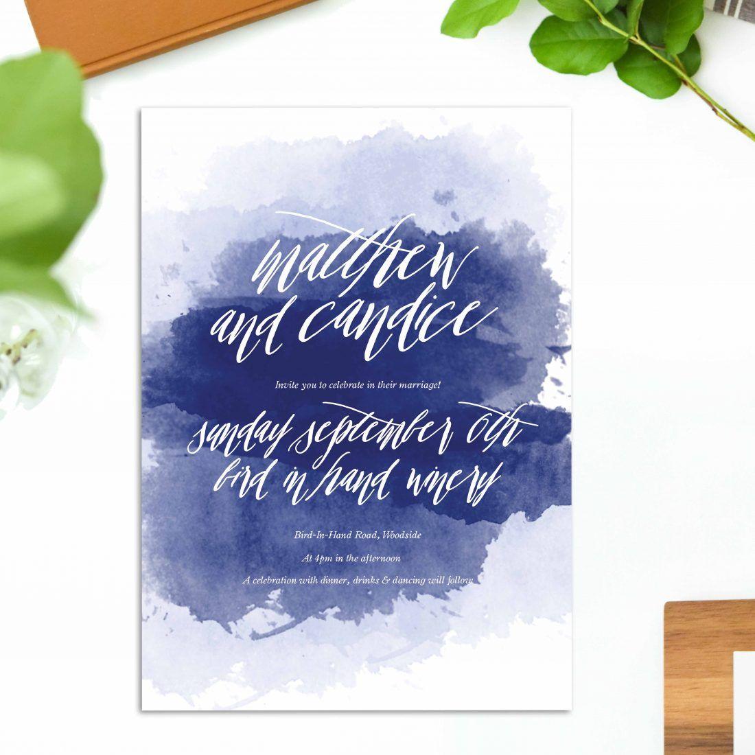 Navy Blue Watercolour Wedding Invitations Calligraphy Stationery Australia Beach Ocean Perth Sydney Melbourne Brisbane