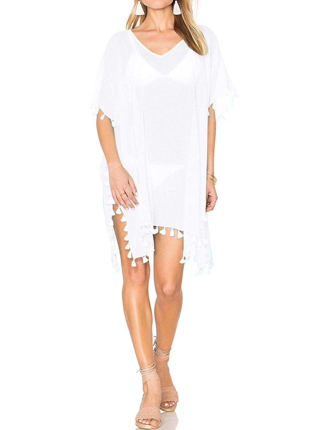 5091d1866142e Women's Clothing, Swimsuits & Cover Ups, Cover-Ups, Women Beach Cover Up  One Piece Swimwear Beach Dress - Tassel White 1 - CA185CRTIW5 #fashion # Swimsuits ...