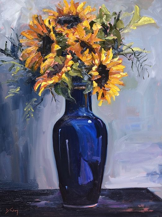 Sunflowers In A Blue Vase Original Oil Painting By Donna Tuten A