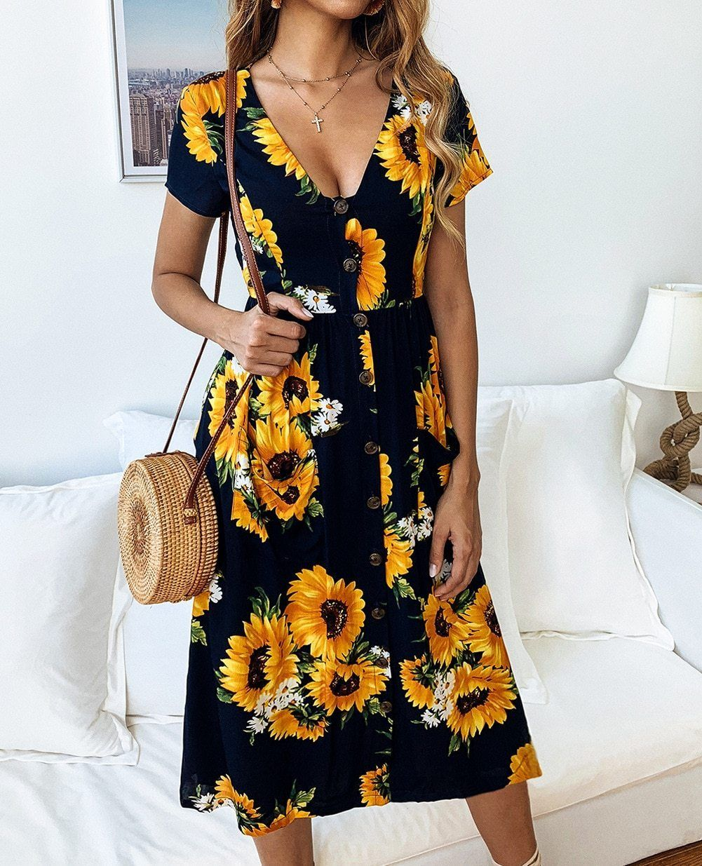 Dresses Midi Short Sleeve Dress Summer Dresses Modest Summer Dresses [ 1235 x 1001 Pixel ]