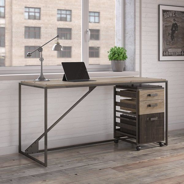 Bush Office Industrial Furniture Refinery 3 Drawer Mobile File Cabinet Rustic