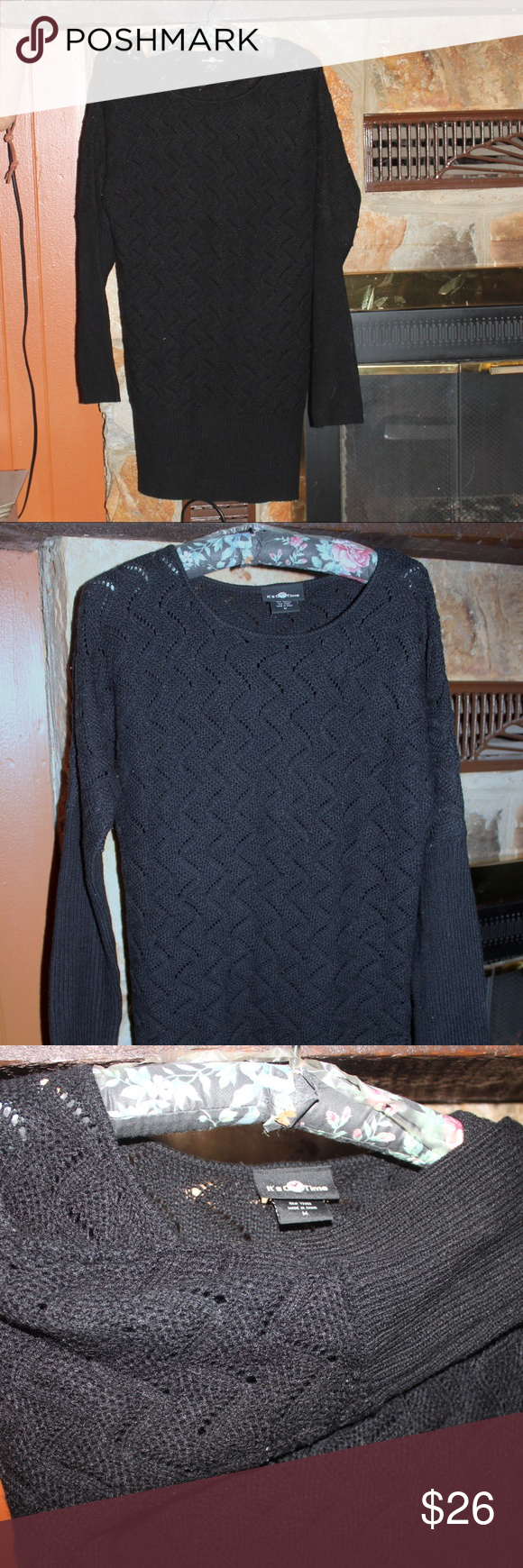 sweater Dress Sweater Dress - Black - 100% Acrylic - warm and comfortable - cute with boots - banded at cuff  and around hem Dresses Long Sleeve