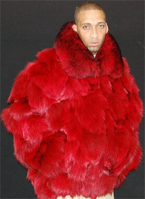 www.hiphopcloset.com Mens Genuine Full Skin Red Fox Fur Coat ...