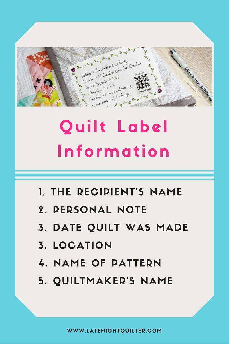 Quilting Label Ideas : Making Quilt Labeling Easier Late Night Quilter quilts & patterns, quilt display ideas ...
