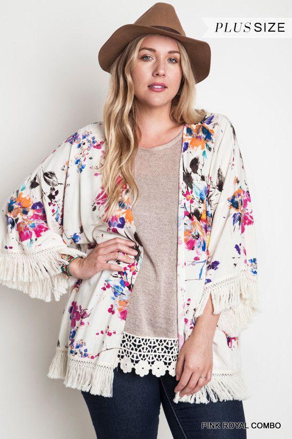 Royal Blue & Pink Fringe Fest Kimono - Plus Size | Fringe kimono ...
