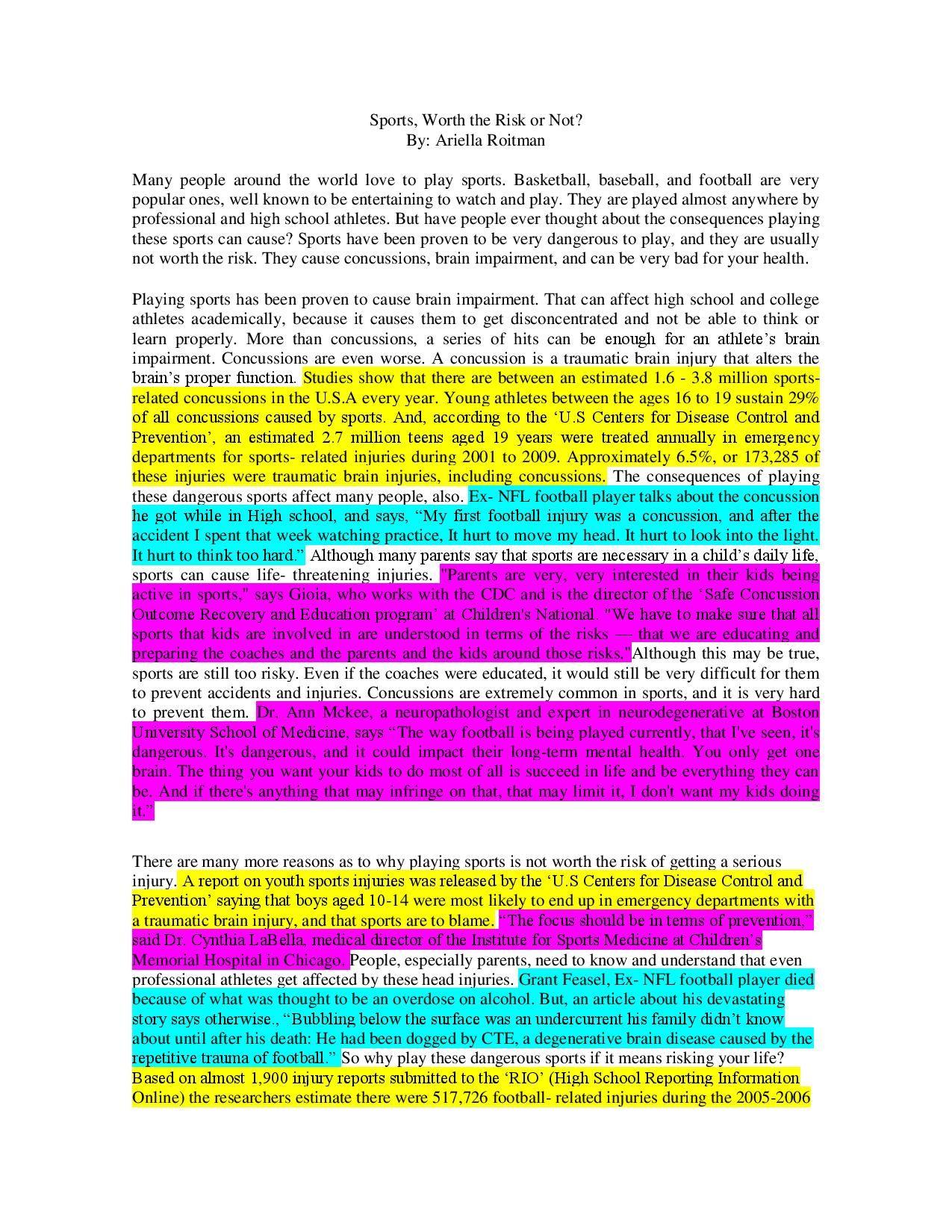 006 Sports Essay Ariella Roitman pg 1 Sports Related