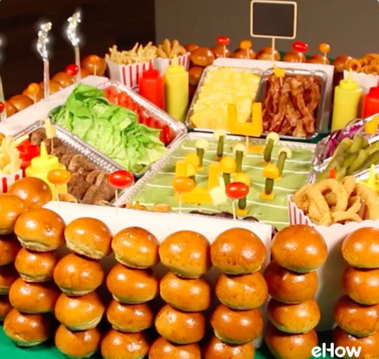 Build a gourmet snack stadium for your super bowl party for Food bar game