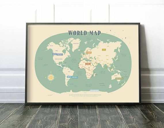 World Map Vintage Style Poster illustrated world map | World Map