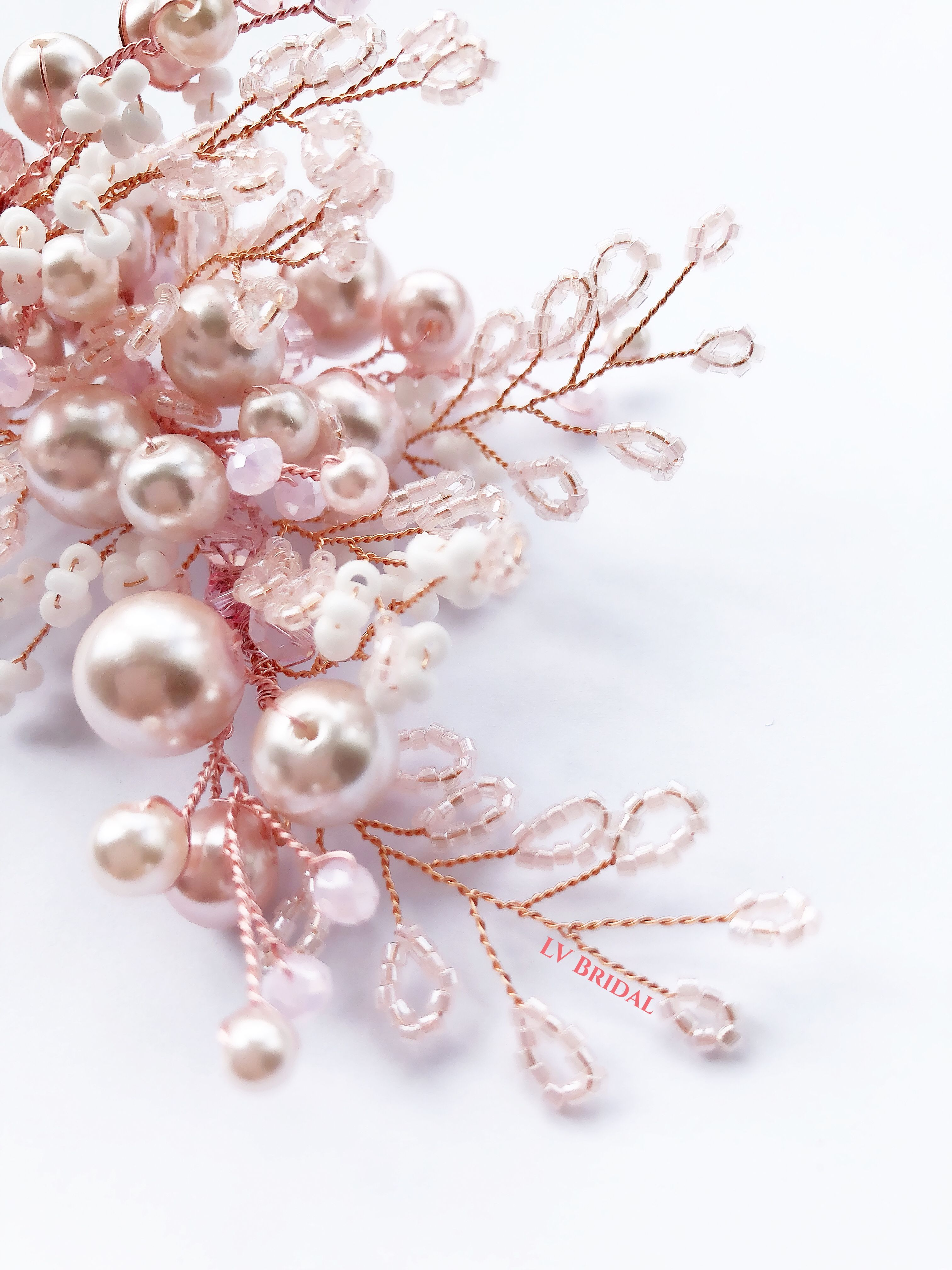 Antoinetteu bridal headpiece rose gold hairvine wedding hair comb