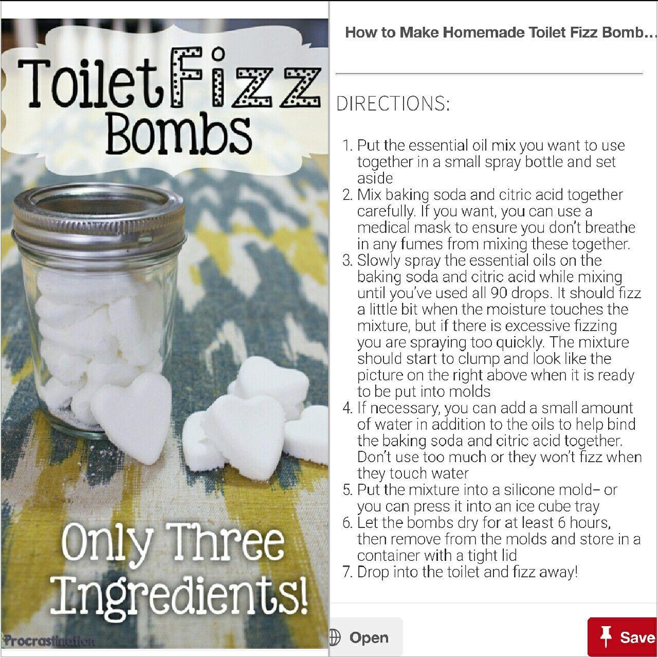 1 1/3 cup baking soda 1/2 cup citric acid 90 drops essential oils (30 lemon, 30 peppermint, 20 orange, 10 lavender)