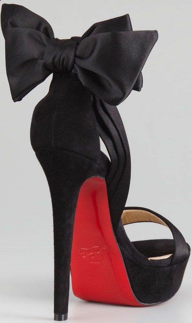 """Christian Louboutin """"Vampanono"""" Bow Red-Sole Sandals in Black"""