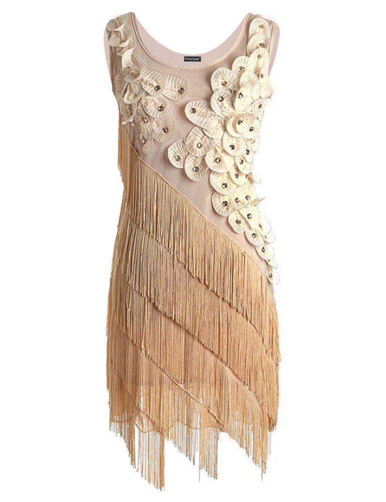 0360d035b07 PrettyGuide Women 1920s Beaded Fringe Scalloped Petal Hem Origami Flapper  Dress (L
