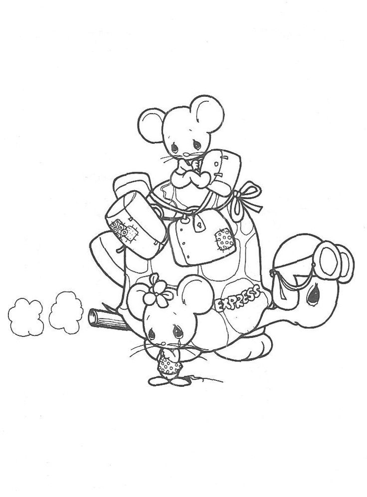 Precious moments animals coloring pages precious moments turtle and mice