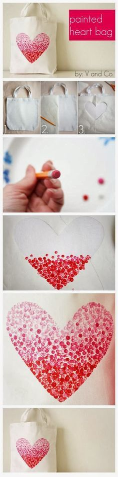 My DIY Projects: DIY : Painted Heart Bag... Another fun idea... You could use any shape on the template with the same technique.
