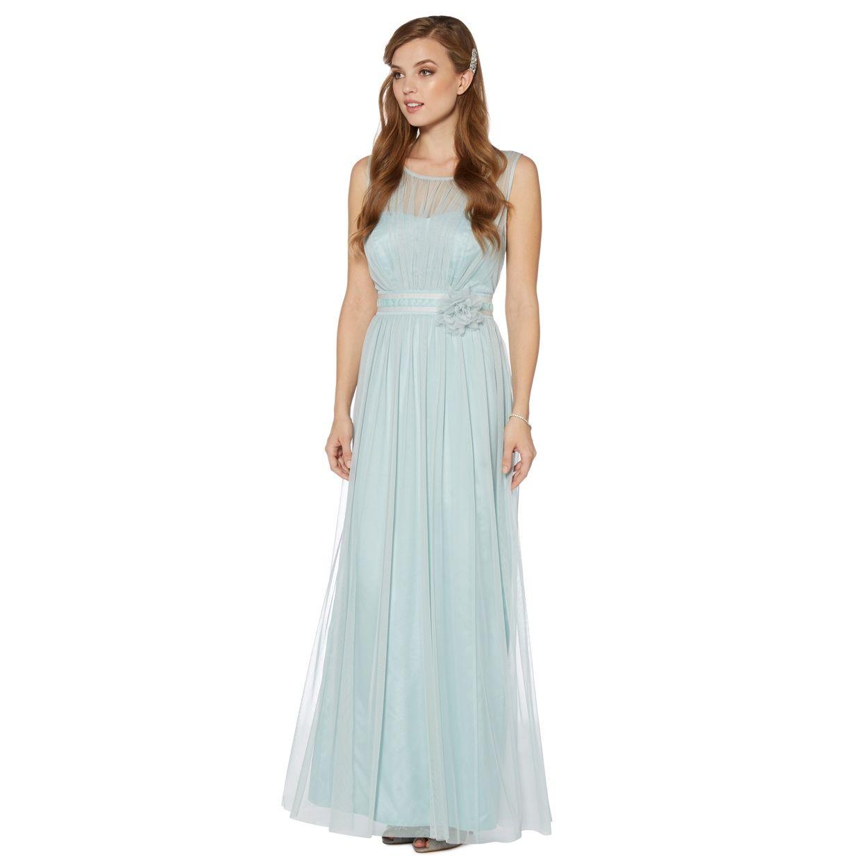 Debut Pale green mesh build corsage maxi dress- at Debenhams.com ...