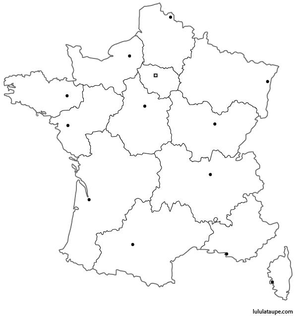 Célèbre Carte vierge des 13 régions de France à imprimer, emplacement des  OF17