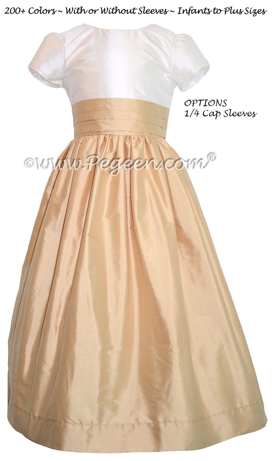 Flower Girl Dresses by Pegeen.com in Ivory and Pure Gold Silk with ...