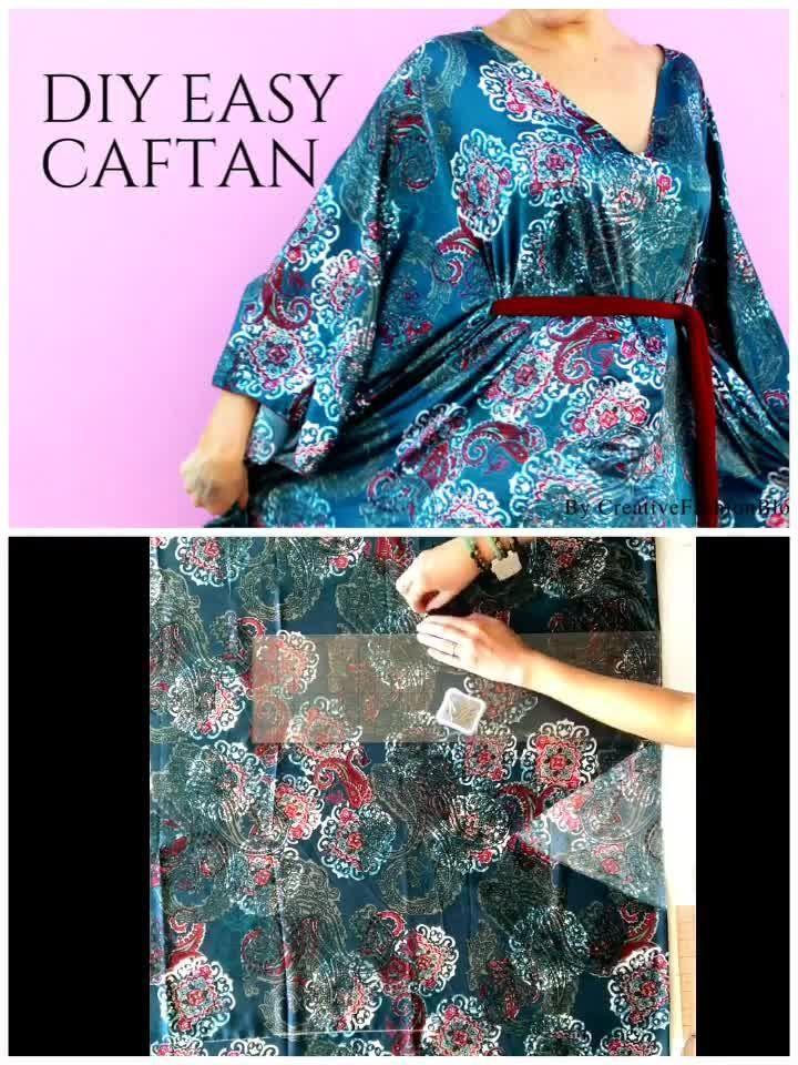 Easy DIY Caftan Dress Tutorial For Spring - Creative Fashion Blog -   diy Clothes patterns