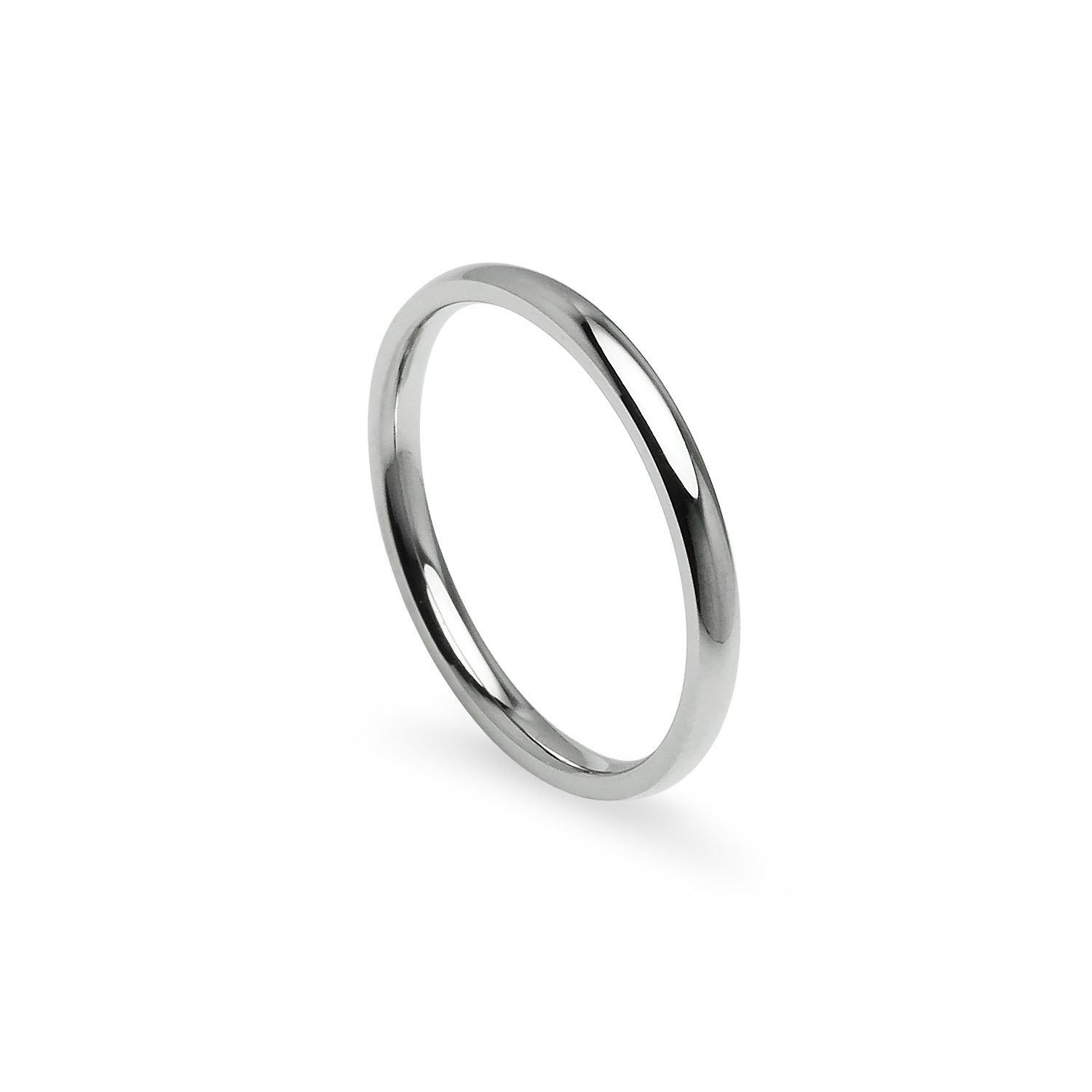 14k White Gold Comfort Fit Plain Wedding Band Ring 2mm Size 7