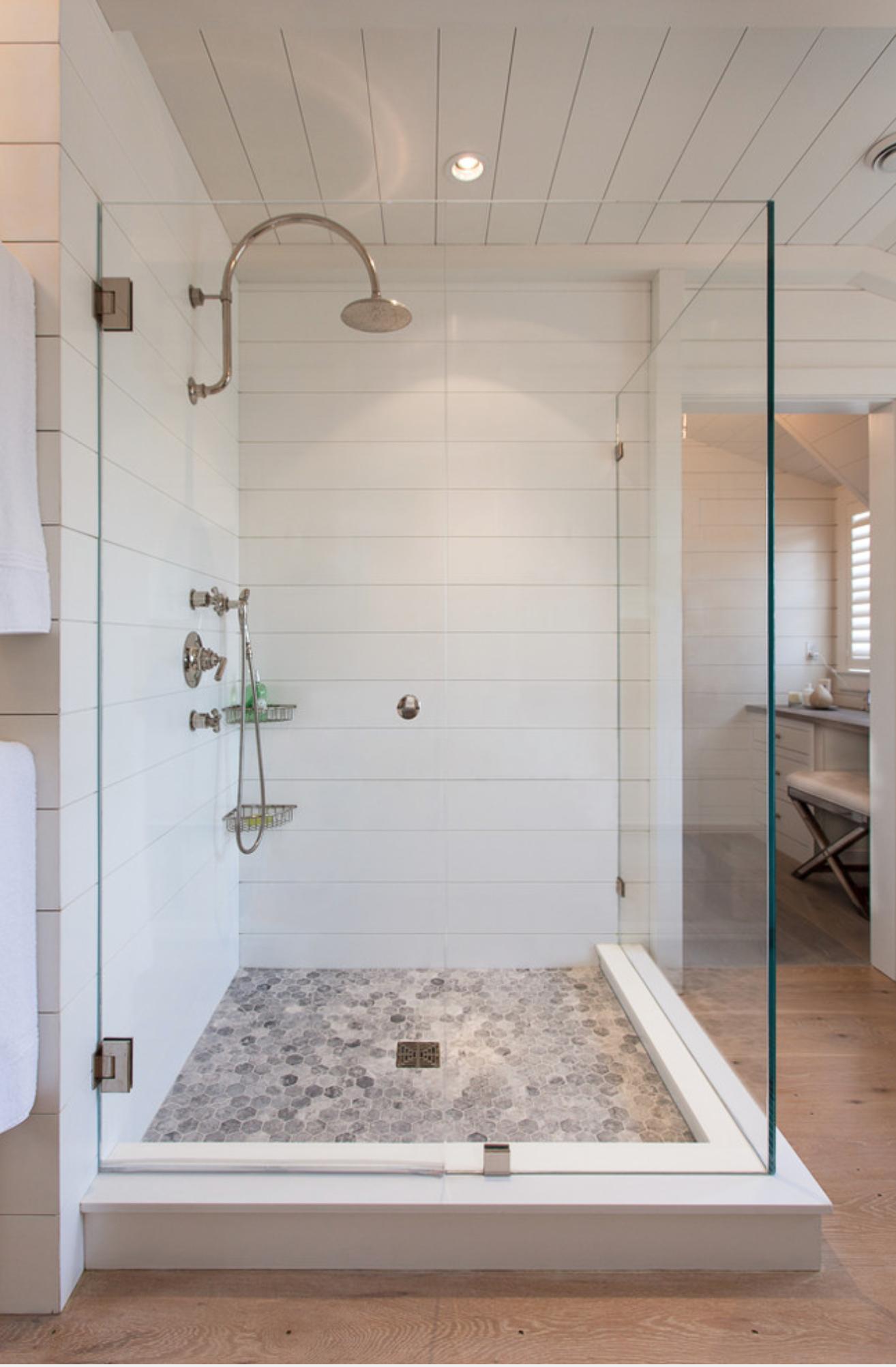 Long White Tile On The Horizontal Mimics Plank Board Bath Shower Remodel Bathroom Inspiration Bath Remodel